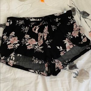 Kendall and Kylie Floral Black Shorts